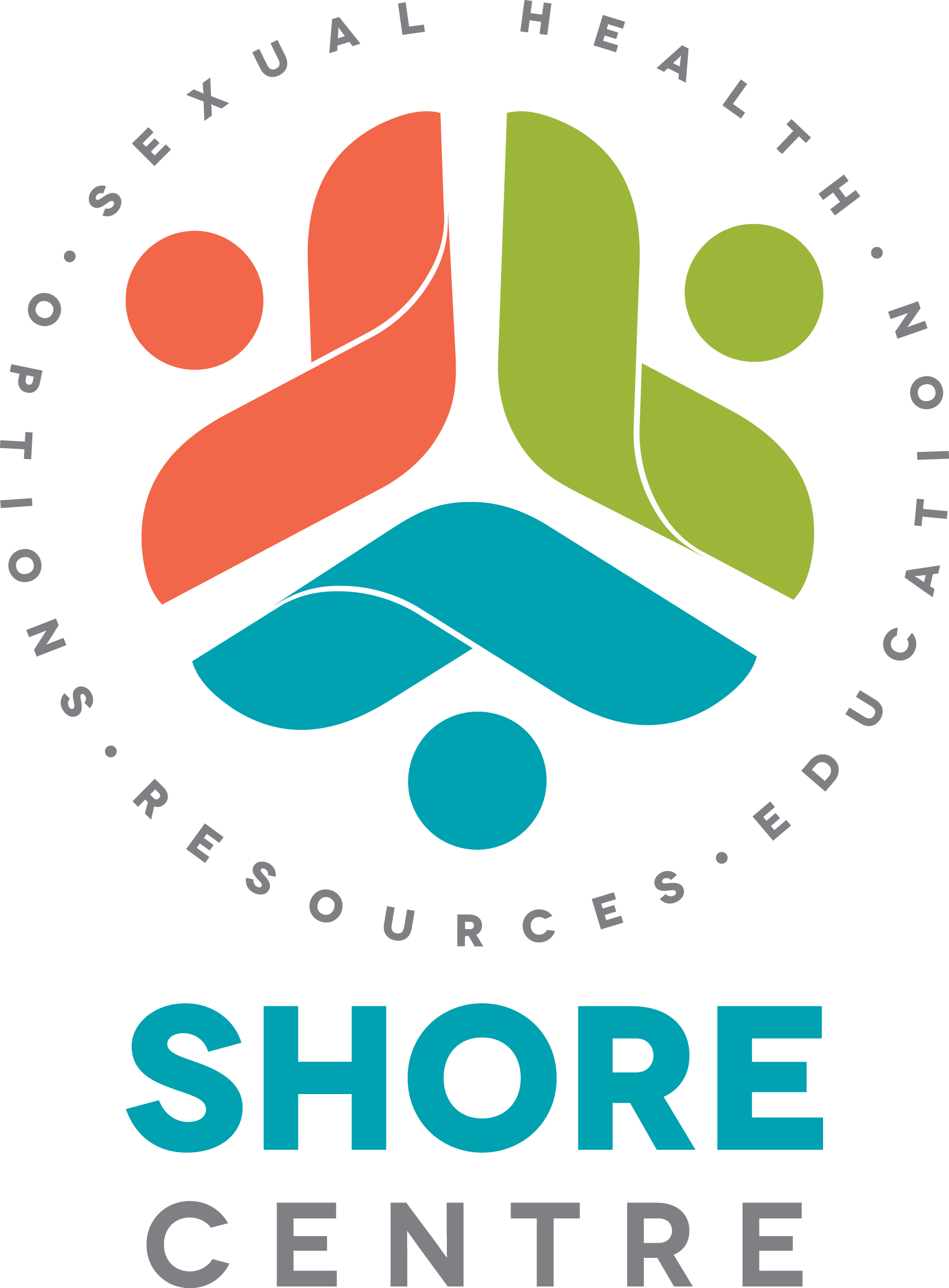 SHORE Centre logo in green, red, blue circled by words Sexual Health, Options, Resources, Education.